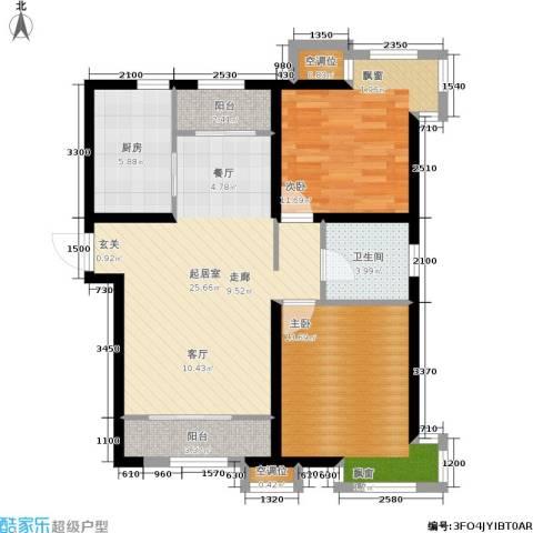 天房郦堂2室0厅1卫1厨93.00㎡户型图