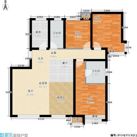 远洋红熙郡3室0厅2卫1厨110.93㎡户型图