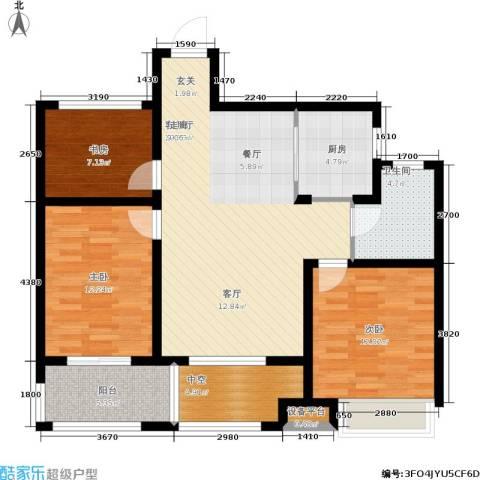 锦绣江南3室1厅1卫1厨94.08㎡户型图