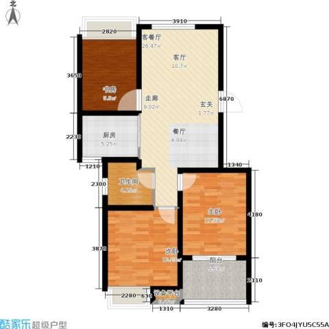 锦绣江南3室1厅1卫1厨86.09㎡户型图