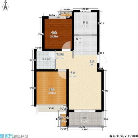 锦绣江南2室1厅1卫1厨80.83㎡户型图