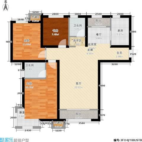 天房郦堂3室0厅2卫1厨130.00㎡户型图