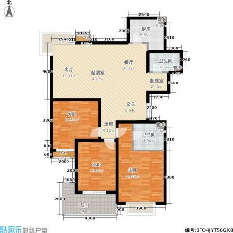锦绣江南3室0厅2卫1厨136.00㎡户型图