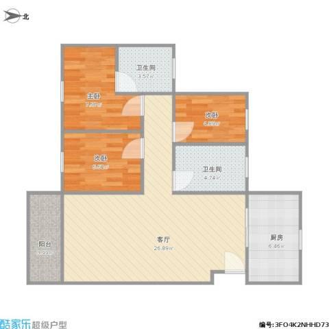 翠华豪苑3室1厅2卫1厨88.00㎡户型图