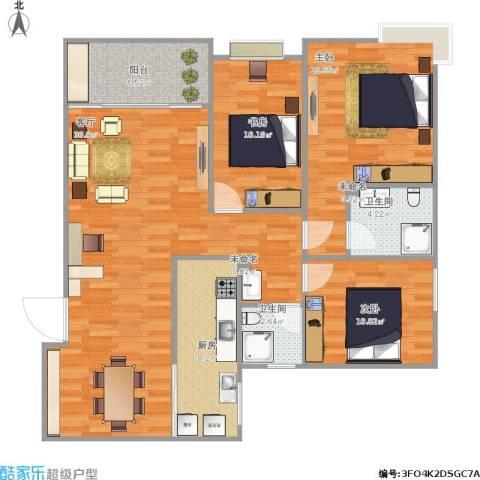 国奥村二期3室1厅2卫1厨127.00㎡户型图