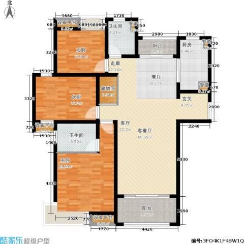 建滔裕花园3室1厅2卫1厨139.00㎡户型图