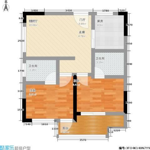康乃馨国际老年生活示范城2室1厅2卫1厨76.00㎡户型图