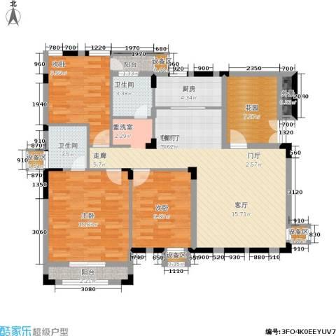 熙庭原著3室1厅2卫1厨127.00㎡户型图
