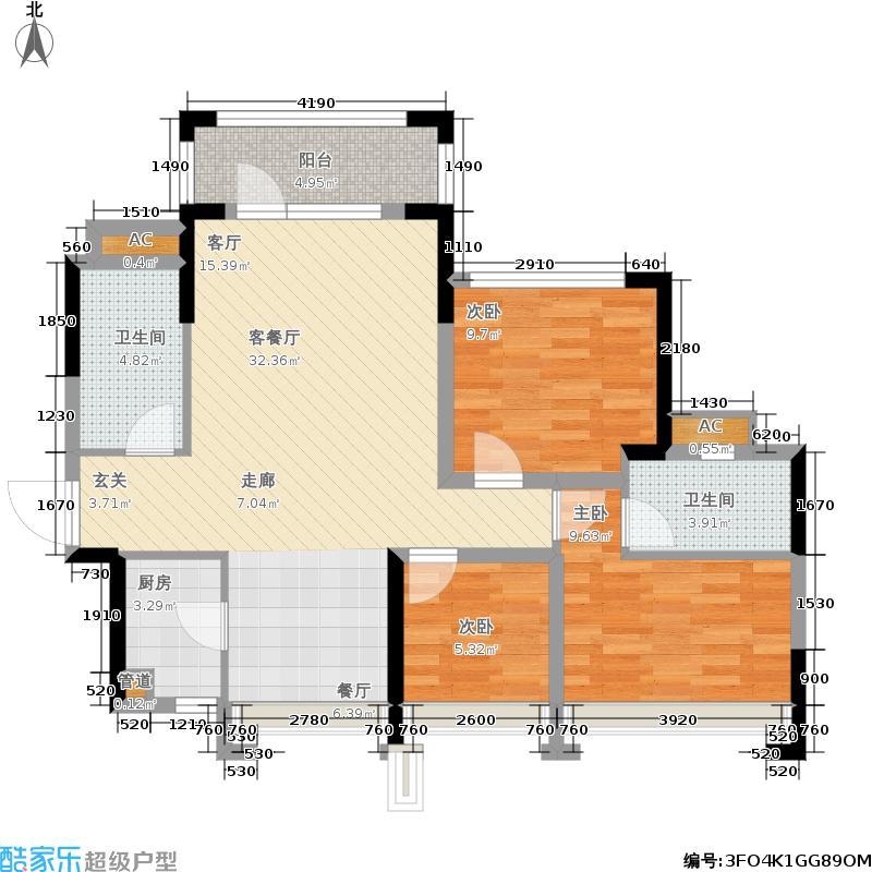 君汇熙庭94.90㎡铂宫2栋02户型