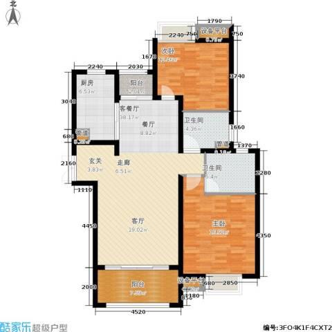建滔裕花园2室1厅2卫1厨109.00㎡户型图