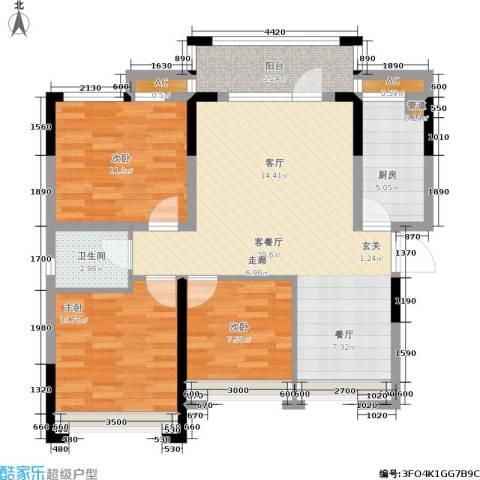 君汇熙庭3室1厅1卫1厨93.00㎡户型图
