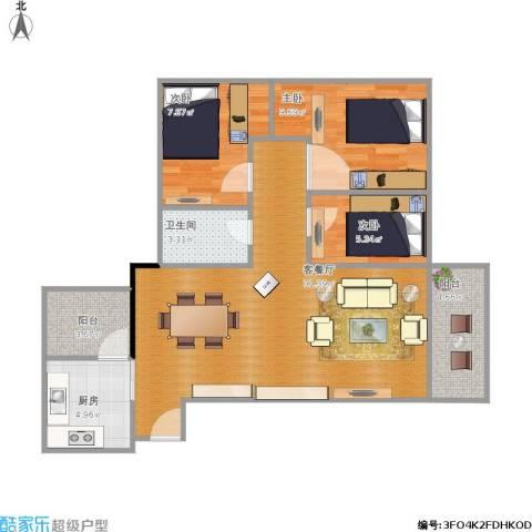 简爱社区3室1厅1卫1厨96.00㎡户型图