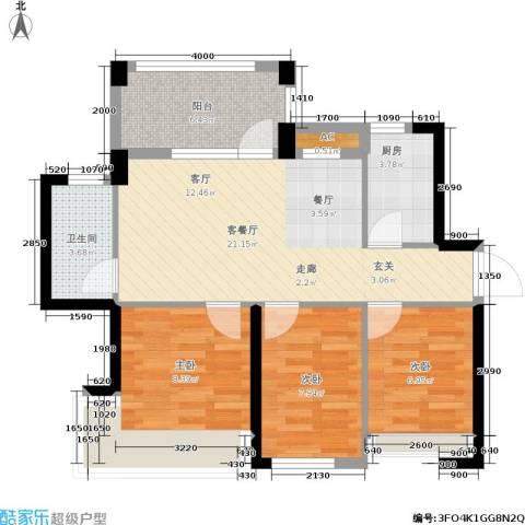 君汇熙庭3室1厅1卫1厨77.00㎡户型图