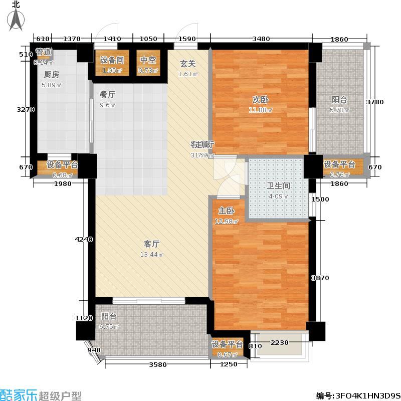 福隆城89.07㎡1#/4#楼02、05、08单元2室户型