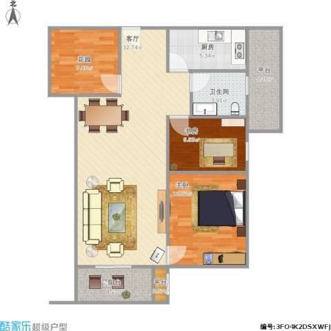 沭阳大唐世家2室1厅1卫1厨106.00㎡户型图