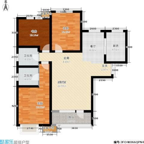 华夏·幸福城3室0厅2卫1厨136.00㎡户型图