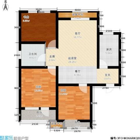华夏·幸福城3室0厅1卫1厨108.00㎡户型图