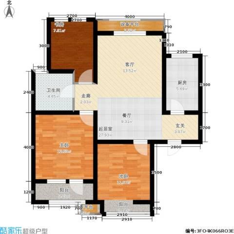 华夏·幸福城3室0厅1卫1厨105.00㎡户型图