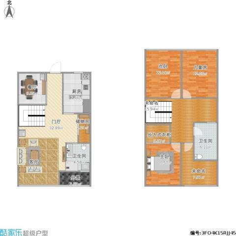 上坤公园天地3室1厅2卫1厨168.00㎡户型图
