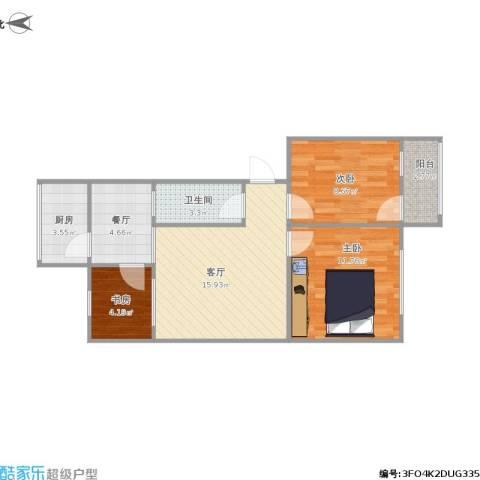 长风小区3室2厅1卫1厨75.00㎡户型图