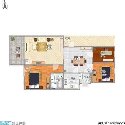 富绿新村3室2厅2卫1厨102.00㎡户型图
