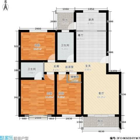 百万小镇3室0厅2卫1厨134.00㎡户型图