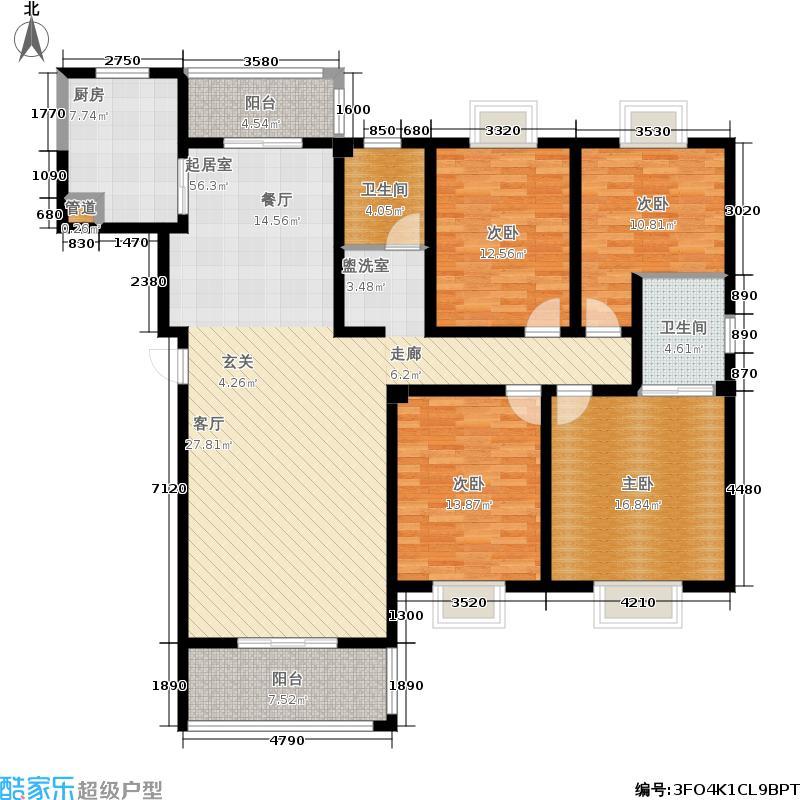 银海花园158.81㎡四居室户型