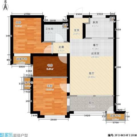 鸿坤·原乡郡3室0厅1卫1厨86.00㎡户型图