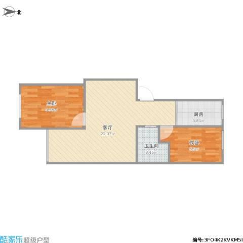 定慧西里2室1厅1卫1厨62.00㎡户型图