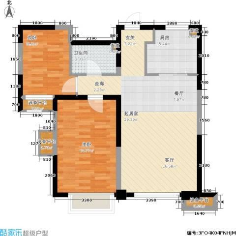 鸿坤·原乡郡2室0厅1卫1厨91.00㎡户型图