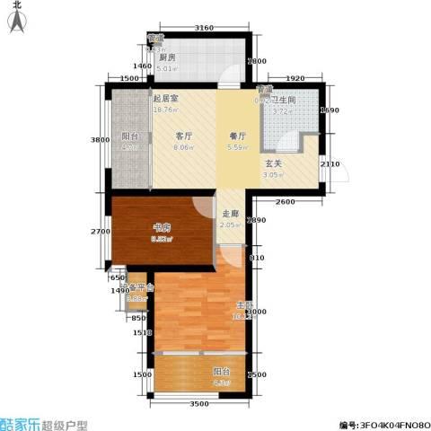 鸿坤·原乡郡2室0厅1卫1厨77.00㎡户型图