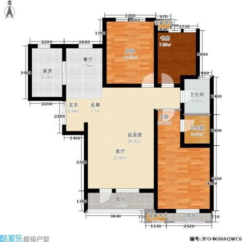 华夏·幸福城3室0厅2卫1厨130.00㎡户型图