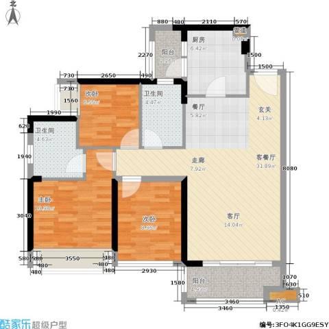 君汇熙庭3室1厅2卫1厨96.00㎡户型图