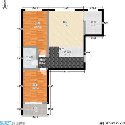 天润国际城2室0厅1卫1厨91.00㎡户型图