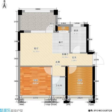 君汇熙庭2室1厅1卫1厨66.00㎡户型图