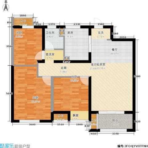 景瑞御江山3室0厅1卫1厨95.00㎡户型图