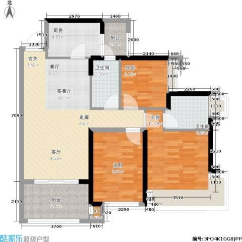 君汇熙庭3室1厅2卫1厨94.00㎡户型图