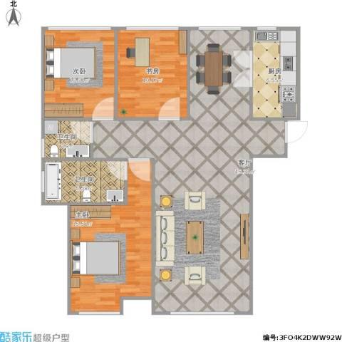 佳兆业・水岸新都3室1厅2卫1厨129.00㎡户型图