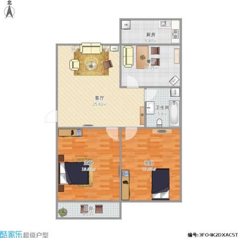 烟厂三宿舍2室2厅1卫1厨118.00㎡户型图