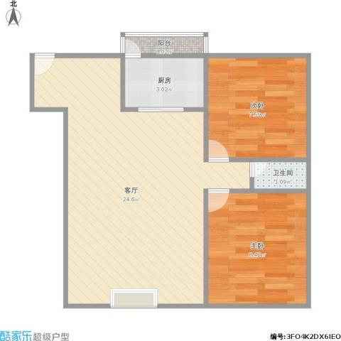 盈彩美地2室1厅1卫1厨62.00㎡户型图