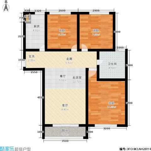 廊坊四季家园3室0厅1卫1厨86.00㎡户型图