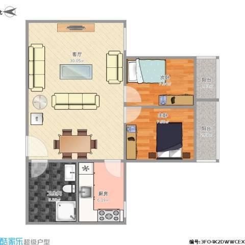 和泰花园2室1厅1卫1厨84.00㎡户型图