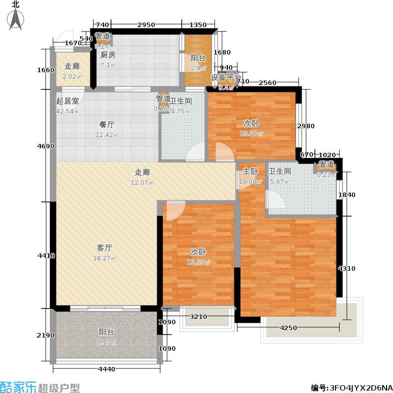 恒大银湖城127.00㎡10栋3-18层01单位户型