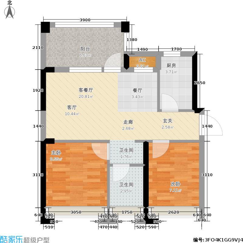 君汇熙庭67.37㎡铂宫二期6栋01户型
