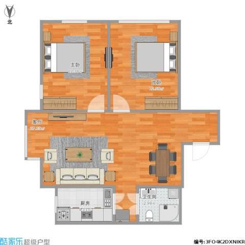铁西区景星花园2室1厅1卫1厨64.52㎡户型图