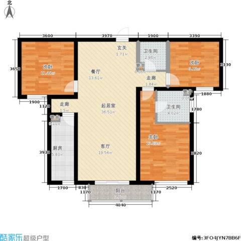 灞柳良居3室0厅2卫1厨126.00㎡户型图
