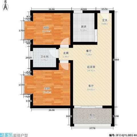 翰林17坊2室0厅1卫1厨73.00㎡户型图