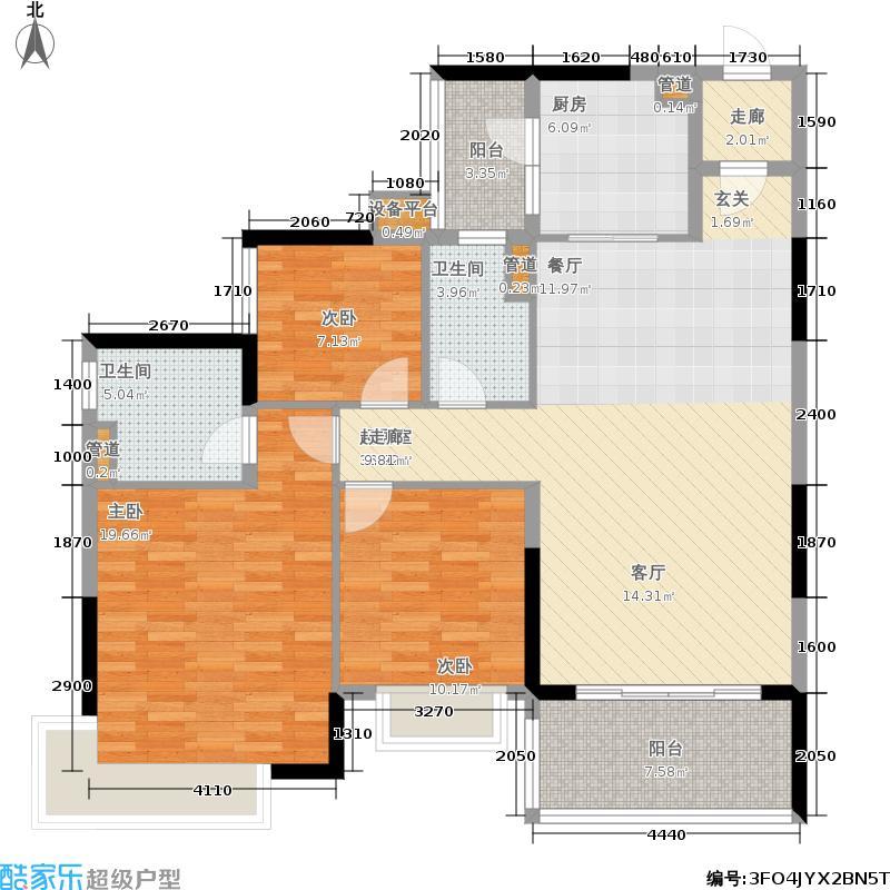 恒大银湖城116.65㎡13栋3-22层02单位户型
