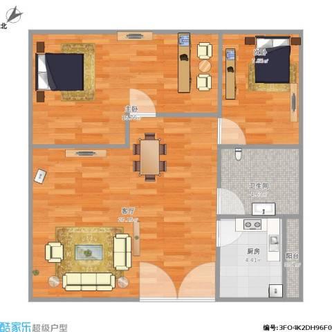 怡乐花园2室1厅1卫1厨65.00㎡户型图