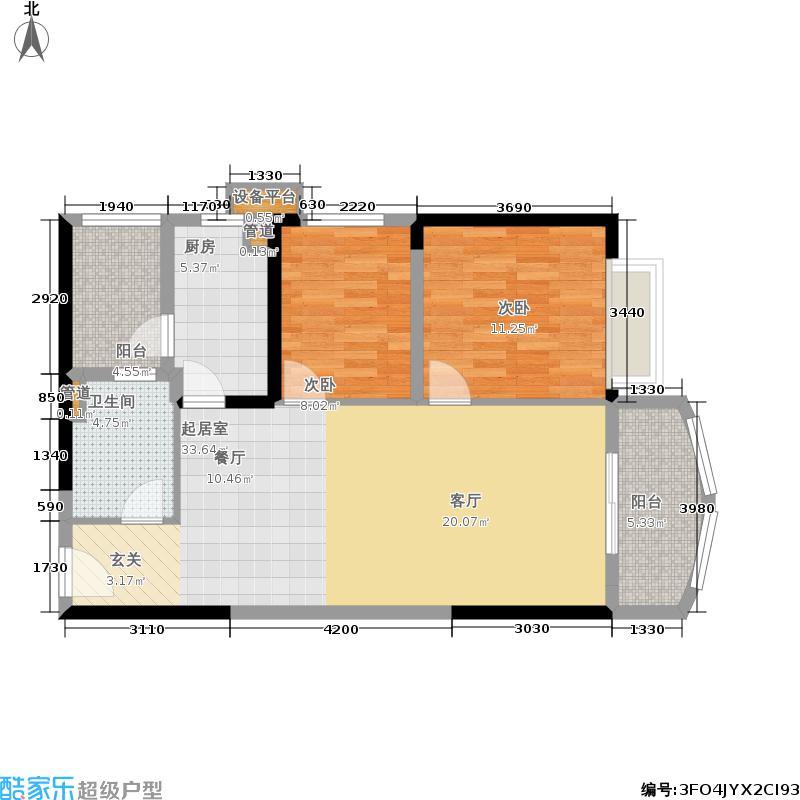 恒大银湖城82.50㎡15栋3-22层06单位户型